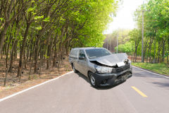 Car crash from car accident on the road. In a city car pickup wait insurance Stock Images