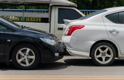 Car crash from car accident on the road royalty free stock image