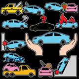 Car crash and car insurance color icons. Royalty Free Stock Photography