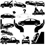 Car crash and car insurance icons stock illustration