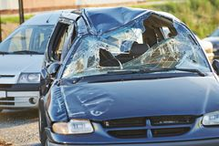 Car crash collision. Accident on an city road stock images