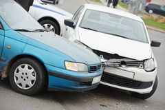 Car crash collision. Accident on an city road highway stock image