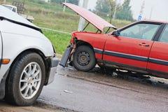 Car crash collision. Automobile car crash accident on an city road Royalty Free Stock Photo