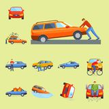 Car crash collision traffic insurance safety automobile emergency disaster and emergency disaster speed repair transport Royalty Free Stock Image