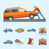 Car crash collision traffic insurance safety automobile emergency disaster and emergency disaster speed repair transport Stock Photo