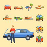 Car crash collision traffic insurance safety automobile emergency disaster and emergency disaster speed repair transport Stock Photography