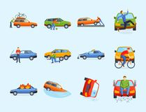 Car crash collision traffic insurance safety automobile emergency disaster and emergency disaster speed repair transport Stock Photos