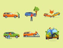 Car crash collision traffic insurance safety automobile emergency disaster and emergency disaster speed repair transport Royalty Free Stock Photos