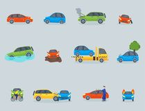 Car crash collision traffic insurance safety automobile emergency disaster and emergency repair transport vector Royalty Free Stock Photos