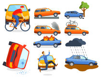 Car crash collision traffic insurance safety automobile emergency disaster and emergency disaster speed repair transport. Vector illustration. Auto accident vector illustration