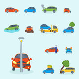 Car crash collision traffic insurance safety automobile emergency disaster and emergency repair transport vector Stock Images