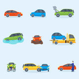 Car crash collision traffic insurance safety automobile emergency disaster and emergency repair transport vector Royalty Free Stock Images