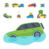 Car crash collision traffic insurance safety automobile emergency disaster and emergency repair transport vector Stock Photo