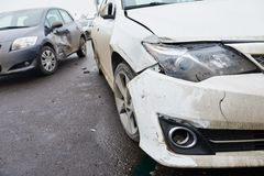 Car crash collision in urban street Stock Photography