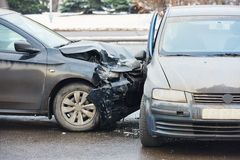 Car crash collision in urban street Royalty Free Stock Images