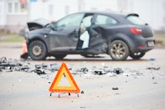 Car crash collision in urban street Royalty Free Stock Photos