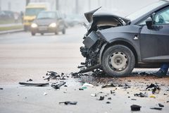 Car crash collision in urban street Stock Photo