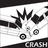 Car crash with comic stripe Royalty Free Stock Photography