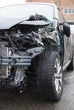 Car Crash. Crashed car at a service station Royalty Free Stock Photo