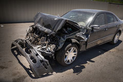 Car crash with damage to front engine Royalty Free Stock Photo