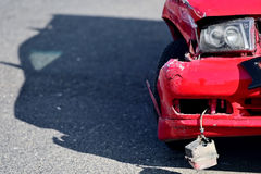 Car crash detail with damaged automobile Royalty Free Stock Photos
