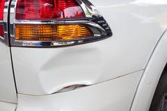 Car crash. Detail of trace of car crash. Stock Photo