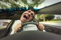 Car Crash Face. Silly man gets into car crash and makes ridiculous face Stock Image