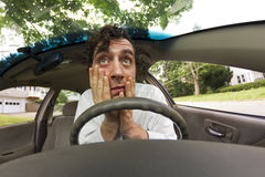 Car Crash Face Stock Photo