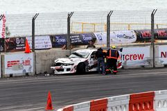 Car crash during Formula Drift Singapore 2009 Royalty Free Stock Photography