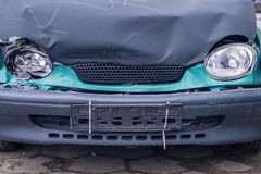 Car after car crash, headlamps royalty free stock photo