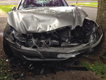 Car crash. Front view of a vehicle that has been damaged in a head on crash Stock Photography