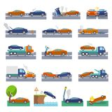 Car crash icons. Car crash and accidents icons set with collision fire flood insurance events vector illustration Royalty Free Stock Images