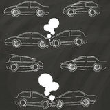 Car crash icons by chalk. Accident car icons Hand Drawing with chalk on blackboard Stock Image