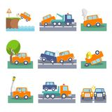 Car crash icons. Colored car crash accidents and driving safety icons set isolated vector illustration Royalty Free Stock Image