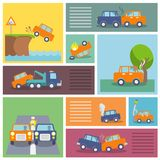 Car crash icons. Colored decorative driving safety car security and auto crash protection  icons set isolated vector illustration Royalty Free Stock Image