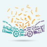 Car crash icons concept. Car crash auto collision vehicle accident icons concept vector illustration Stock Photos
