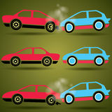 Car crash icons on dark background Royalty Free Stock Photos