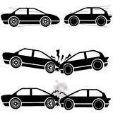 Car crash icons Stock Photography