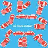 Car crash icons in sticker format Royalty Free Stock Image