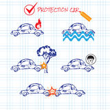 Car crash. Car insurance icons set. Protection car illustration in doodle style. All object on a separate layers. Cartoon cars Royalty Free Stock Images