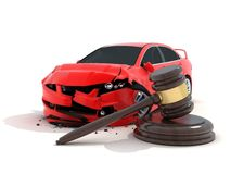 Car crash and law. Car crash on white background and law (done in 3d Stock Photos