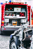 Car crash rescue training. Assistance vehicle royalty free stock photo