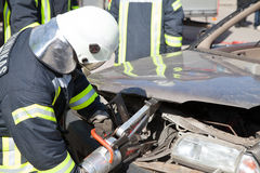 Car crash. Rescuers are working at the scene Stock Photography