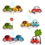 Car crash, road accident, vehicle collision set Stock Image
