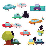 Car crash, road accident, vehicle collision set. Car crash, road accident, motor vehicle collision set, flat cartoon vector illustration isolated on white Royalty Free Stock Photography