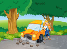 A car crash at the road near the big trees Royalty Free Stock Images