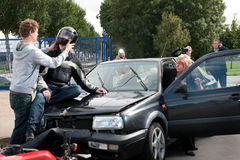 Car crash scene Stock Photography