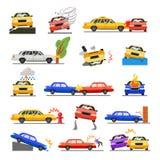 Car crash set vector illustration