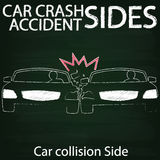 Car crash Side collision by chalk Stock Photo