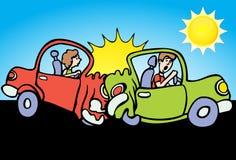 Car Crash - Sunny Day. Car rear-ends another car on a sunny day - cartoon Royalty Free Stock Photo